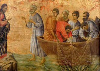 Post-Resurrection appearances of Jesus - The miraculous catch of 153 fish by Duccio, 14th century. Jesus is standing on the left, in the fourth resurrection appearance in John's gospel.