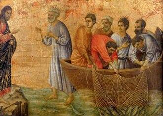 Miraculous catch of fish - Duccio (14th century)