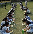 The students of Phulaguri High School having meal under Mid-Day Meal scheme, in Nagaon district of Assam on February 24, 2010.jpg