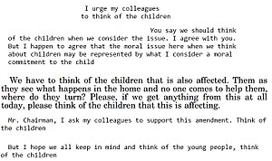"Think of the children - ""Think of the children"" argument used in the United States Congress"