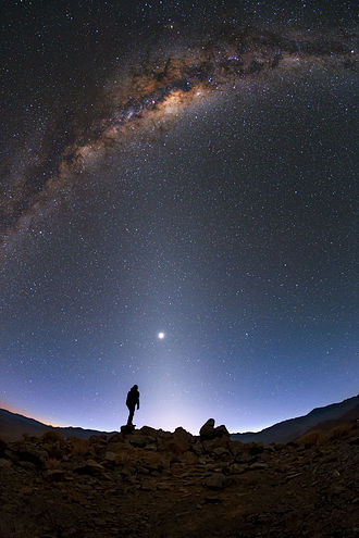 Cosmic dust - Zodiacal light caused by cosmic dust.