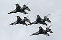 Thunderbirds Lockheed-Martin F-16C Fighting Falcons Diamond 1st Pass 11 SNF 16April2010 (14650323853).jpg