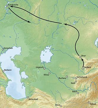 Tokhtamysh–Timur war - Timur's movements, 1391-1392.