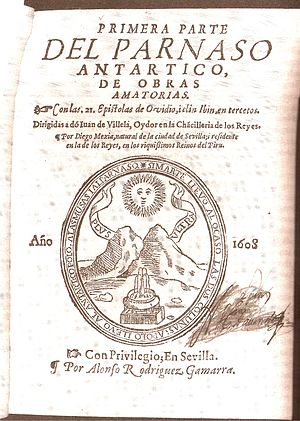 "Clarinda (poet) - Title Page from Mexía de Fernangil's translation of Ovid's Heroides, which includes Clarinda's ""Discourse in Praise of Poetry"". Published in 1608 in Seville, Spain."