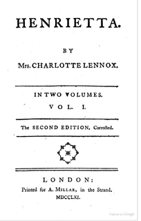 <i>Henrietta</i> (novel) book by Charlotte Lennox