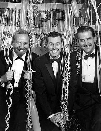 The Tonight Show - New Year's Eve 1962, with (L-R) Skitch Henderson, Johnny Carson and Ed McMahon.