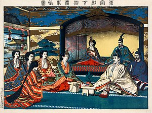 Shinto wedding - An illustration of the first contemporary Shinto wedding ceremony, the 1900 marriage of Crown Prince Yoshihito and Princess Kujo Sadako.