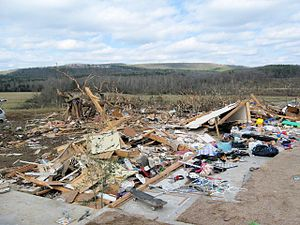 2008 Super Tuesday tornado outbreak - EF4 damage to a house in Clinton, Arkansas.