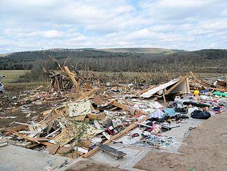 2008 Super Tuesday tornado outbreak - EF4 damage to a house in Clinton, Arkansas.