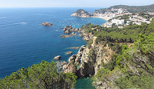 Tossa de Mar - A view of Tossa de Mar from the road to Sant Feliu