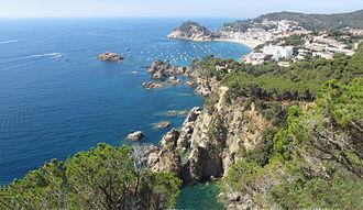 Tossa de Mar - A view of Tossa de Mar from the road to Sant Feliu
