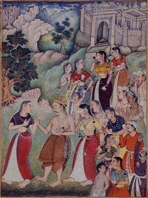 Ashramavasika Parva - Kunti leading Dhritarashtra and Gandhari as they head to Sannyasa