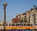 Tram in Sofia near Sofia statue 2012 PD 031.jpg