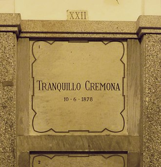 Tranquillo Cremona - Tranquillo Cremona's grave at the Monumental Cemetery of Milan