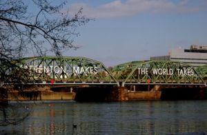 "The Lower Free Bridge displaying Trenton's slogan, ""Trenton Makes, The World Takes"". The bridge is commonly referred to as the ""Trenton Makes Bridge""."