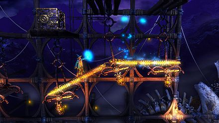 Trine (2009) mixed traditional platform elements with more modern physics puzzles. Trine - Wizard Lift.jpg