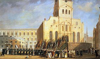 1790 in Sweden - Trophies from the battle of Svensksund are carried in to the Storkyrkan. Painting by Pehr Hilleström