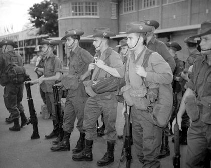 Australian soldiers from the Royal Australian Regiment arrive at Tan Son Nhut Airport, Saigon. Troops of Royal Australian Regiment After Arrival at Tan Son Nhut Airport.jpg