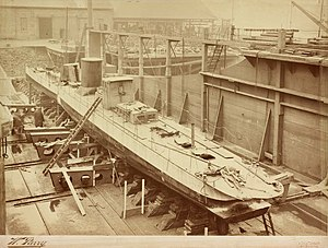 Turbinia - The damaged Turbinia lying in the dry dock