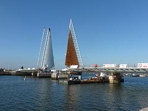 Twin Sails Bridge - The Twin Sails Bridge under construction in November 2011