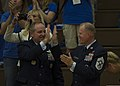 U.S. Air Force Chief Master Sgt. James A. Cody, right, the chief master sergeant of the Air Force, and Gen. Mark A. Welsh III, left, the chief of staff of the Air Force, celebrate after the Air Force team wins 140928-F-RN544-717.jpg