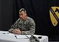 U.S. Army Col. Brian Winski, the commander of the 4th Advise and Assist Brigade (AAB), 1st Cavalry Division, answers questions during a Pentagon press brief via remote satellite uplink at Contingency Operating 110901-A-DB602-013.jpg