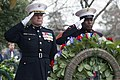 U.S. Marine Corps Col. David Maxwell, base commander, Marine Corps Base (MCB) Quantico, and Sgt. Maj. Mark Byrd Sr., base sergeant major, render a hand salute after placing the official wreath during 140316-M-QJ238-026.jpg