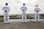 U.S. Sailors man the rails of the aircraft carrier USS Harry S. Truman (CVN 75) as the ship departs Naval Station Norfolk, Va., July 22, 2013 130722-N-BQ286-042.jpg