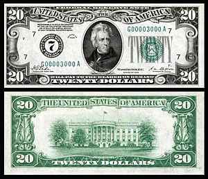 Series 1928 $20 small-size Federal Reserve Note. US-$20-FRN-1928-Fr-2050-G.jpg