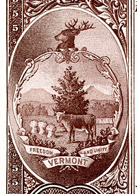 Vermont state coat of arms from the reverse of the National Bank Note Series 1882BB