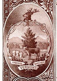 Vermont stemma nazionale dal retro della banconota Banca nazionale Serie 1882BB