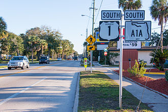 Special routes of U.S. Route 1 - Southbound San Marco Avenue