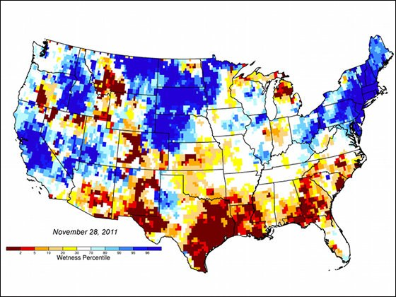 USA Groundwater and Soil moisture Drought Map