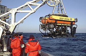 Korean Air Lines Flight 007 - The submersible Deep Drone is deployed from the fleet tug, USNS Narragansett (T-ATF 167).