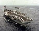 USS Abraham Lincoln (CVN-72) underway in the Pacific Ocean on 1 June 1991 (6475473).jpg