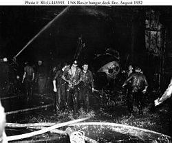 USS Boxer fire 1952