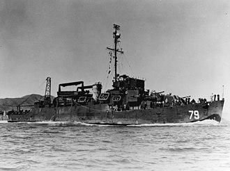 USS Bunch (DE-694) - Bunch as a high-speed transport.