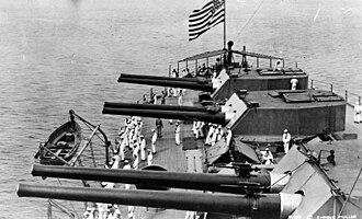 Delaware-class battleship - The three aft 12 inch gun turrets on USS Delaware