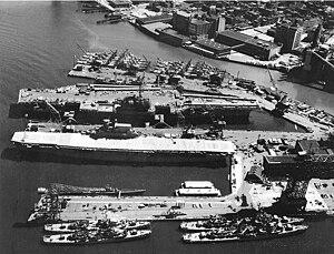 Yorktown-class aircraft carrier - Enterprise laid up in 1958.