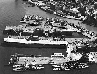 Yorktown-class aircraft carrier - Enterprise laid up in 1958.