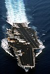 USS Saratoga (CV-60) bow view in 1990.JPEG