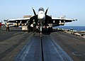 US Navy 021005-N-9593M-035 Super Hornet lines up on the catapult.jpg