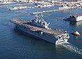 "US Navy 030117-N-2069B-007 Sailors aboard USS Bonhomme Richard (LHD 6) ""man the rails"" as the amphibious assault ship heads to.jpg"