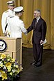 US Navy 050722-N-0295M-017 Adm. Mike Mullen is congratulated by Secretary of the Navy Gordon England after the reading of his official orders during the Chief of Naval Operations change of command ceremony.jpg