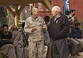 US Navy 051220-F-2729L-003 Commander of Disaster Assistance Center Pakistan, Rear Adm. Michael Lefever, speaks to U.S. Vice President Dick Cheney at the 212th Mobile Army Surgical Hospital in Muzaffarabad.jpg