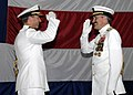 US Navy 080808-N-1713L-127 Vice Adm. Marty Chanik requests permission to go ashore at the conclusion of the change of command ceremony for Commander, U.S. 2nd Fleet held aboard the aircraft carrier USS Dwight D. Eisenhower (CVN.jpg