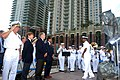 US Navy 081013-N-0486G-006 Guests stand as the Navy Band Southeast plays the Armed Forces Medley.jpg