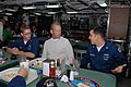 US Navy 090220-N-5251G-625 Major League Baseball Hall of Famer George Brett speaks with Hull Maintenance Technician 3rd Class Jess Thornsen and Hull Maintenance Technician 3rd Class Vladimir Manasweitsch.jpg