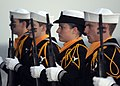 US Navy 090224-N-2562S-006 Members of the Honor Guard of the aircraft carrier USS Theodore Roosevelt (CVN 71) stand at attention during a burial at sea.jpg