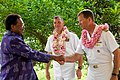 US Navy 090818-N-9689V-003 Prime Minister Dr. Derek Sikua, greets Capt. Andrew Cully, Pacific Partnership mission commander, during the closing ceremony of the Pacific Partnership mission in the Solomon Islands.jpg